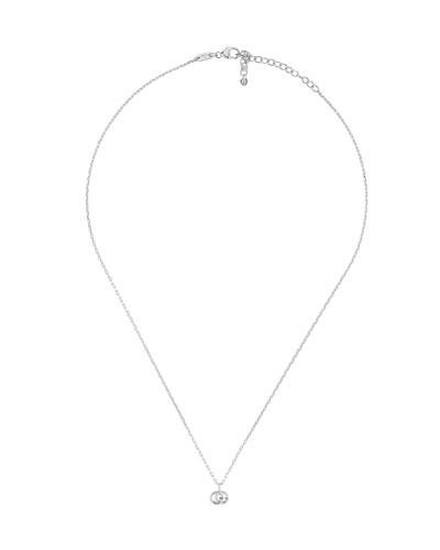 18k White Gold GG Running Necklace w/ Diamond