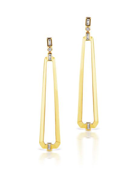 Maria Canale 18k Narrow Trapezoid Earrings w/ Diamonds