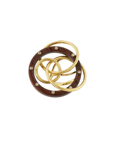 18k Circular Wood Ring w/ Diamonds
