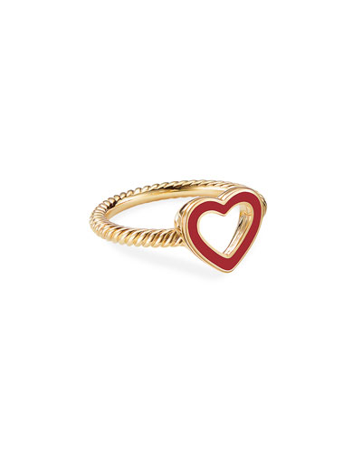 Cable Collectibles 18k Gold Heart Ring in Red  Size 7