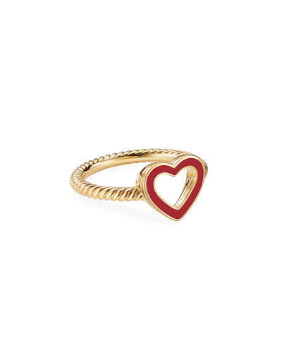 Cable Collectibles 18k Gold Heart Ring in Red  Size 5