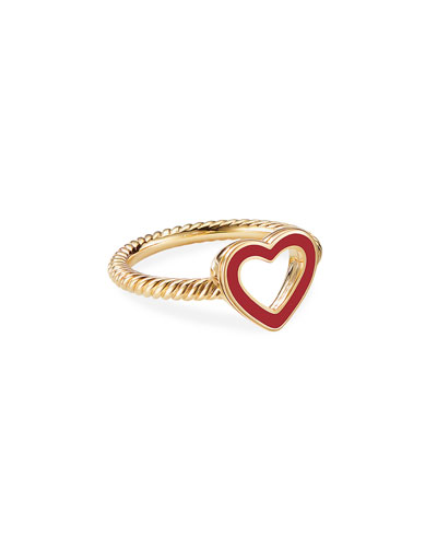 Cable Collectibles 18k Gold Heart Ring in Red  Size 6