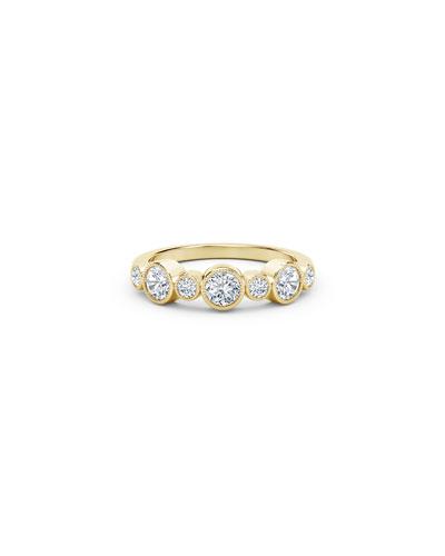 Tribute 18k Gold 9-Dia Bezel Ring  Size 6.5