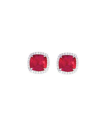18k White Gold Ruby Cushion & Diamond Earrings