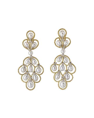 Rete 18k Pearl Pendant Earrings