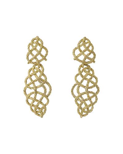 18k Gold Crepe Pendant Earrings