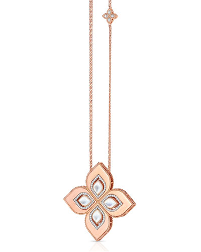 Venetian Princess 18k Rose Gold Mother-of-Pearl Cutout Necklace with 2