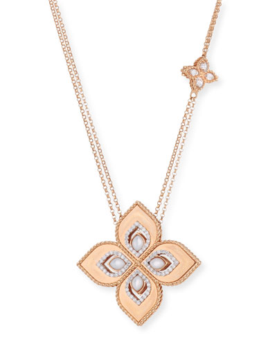 Venetian Princess 18k Rose Gold Mother-of-Pearl Cutout Necklace with 1.2