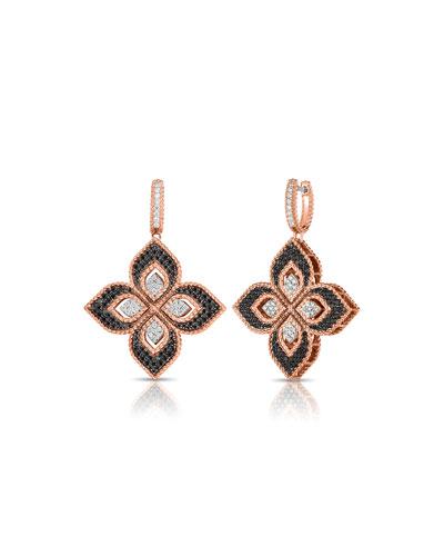 Venetian Princess 18k Rose Gold Mixed Diamond Drop Earrings