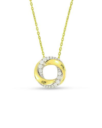 18k Mini Half-Diamond Halo Pendant Necklace