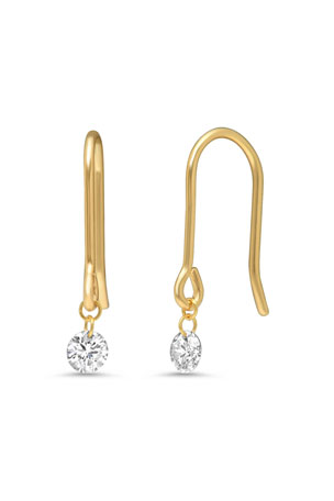 Nicha Jewelry 18k Gold Delicate Floating Round Diamond Earrings