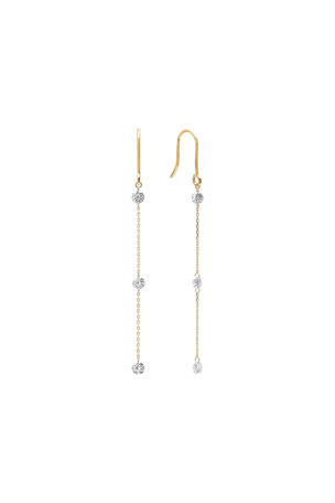 Nicha Jewelry 18k Gold 3-Floating Diamond Dangle Earrings