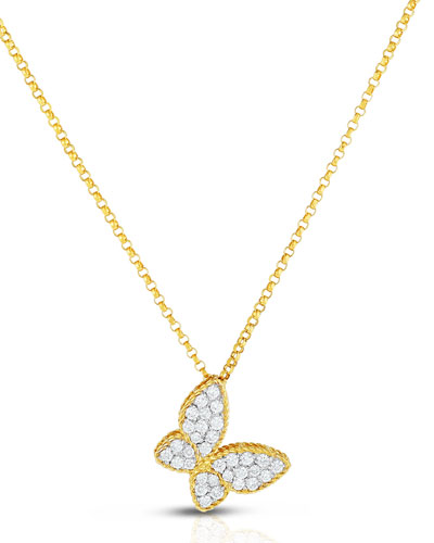 18K Diamond Butterfly Pendant Necklace