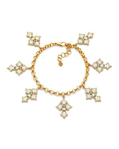 20k Diamond Cross & Enamel Charm Bracelet