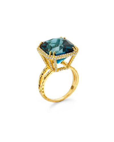20k Gold London Blue Topaz Ring w/ Diamonds  Size 7