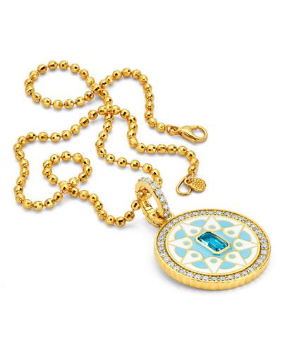 20k Gold Topaz & Diamond Mandala Pendant