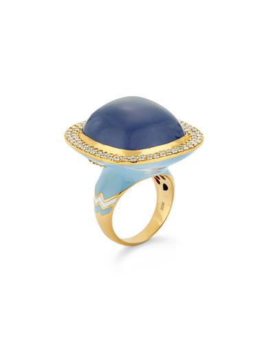 20k Gold Chalcedony & Diamond Ring, Size 8