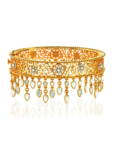 20k Gold Diamond & Agate Filigree Bangle
