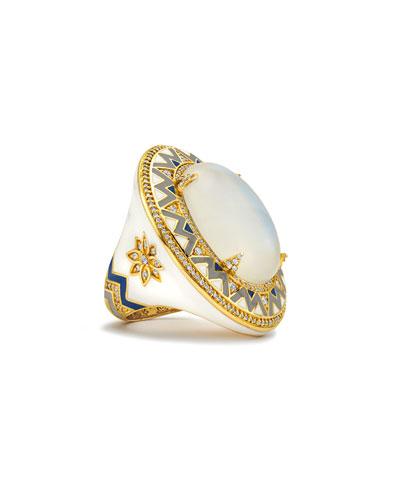 20k Moonstone, Diamond & Enamel Ring, Size 7.5