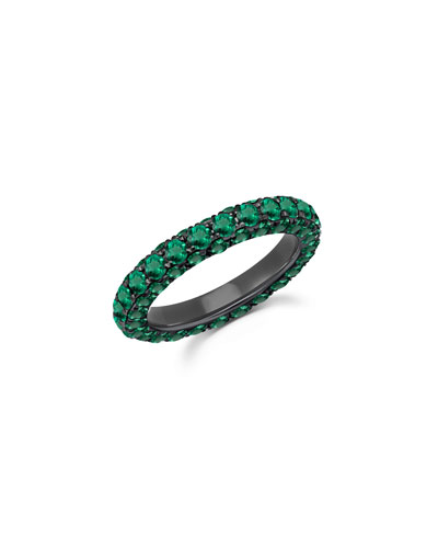 18k White Gold Emerald 3-Sided Ring  Size 7