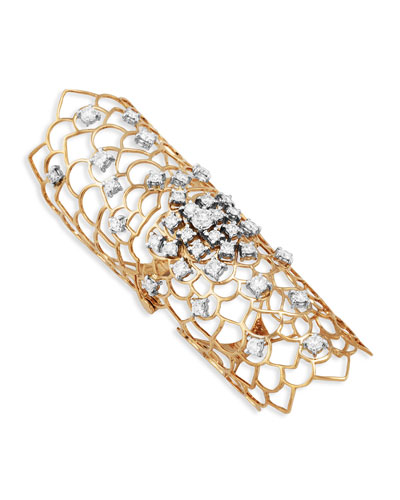 Moresca Armor 18k Rose Gold & Diamond Long Hinged Ring