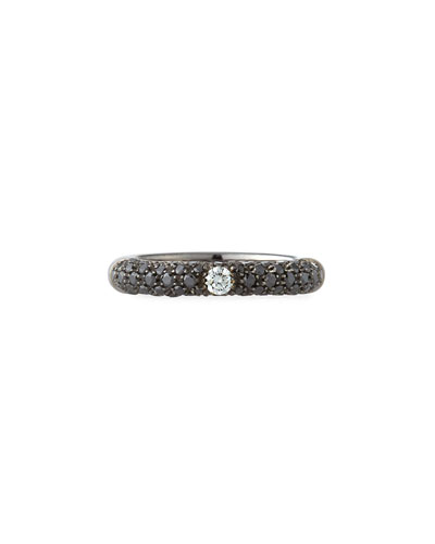 18K White Gold Diamond Ring with Black Diamonds  Size 6.75