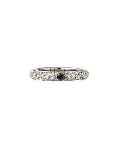 18K White Gold Diamond Ring with One Black Diamond  Size 6.75