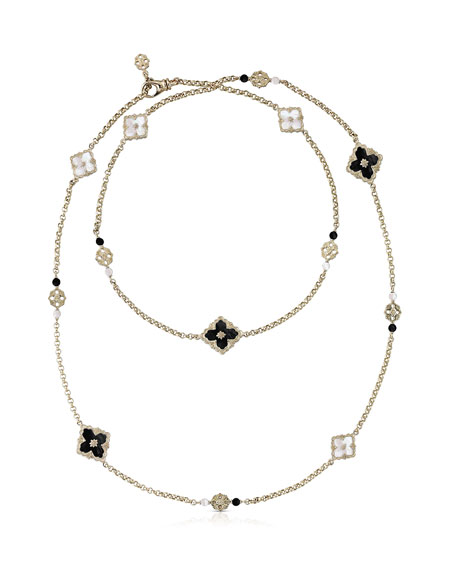 Buccellati Opera Color 18k Long Necklace, Mother-of-Pearl/Onyx