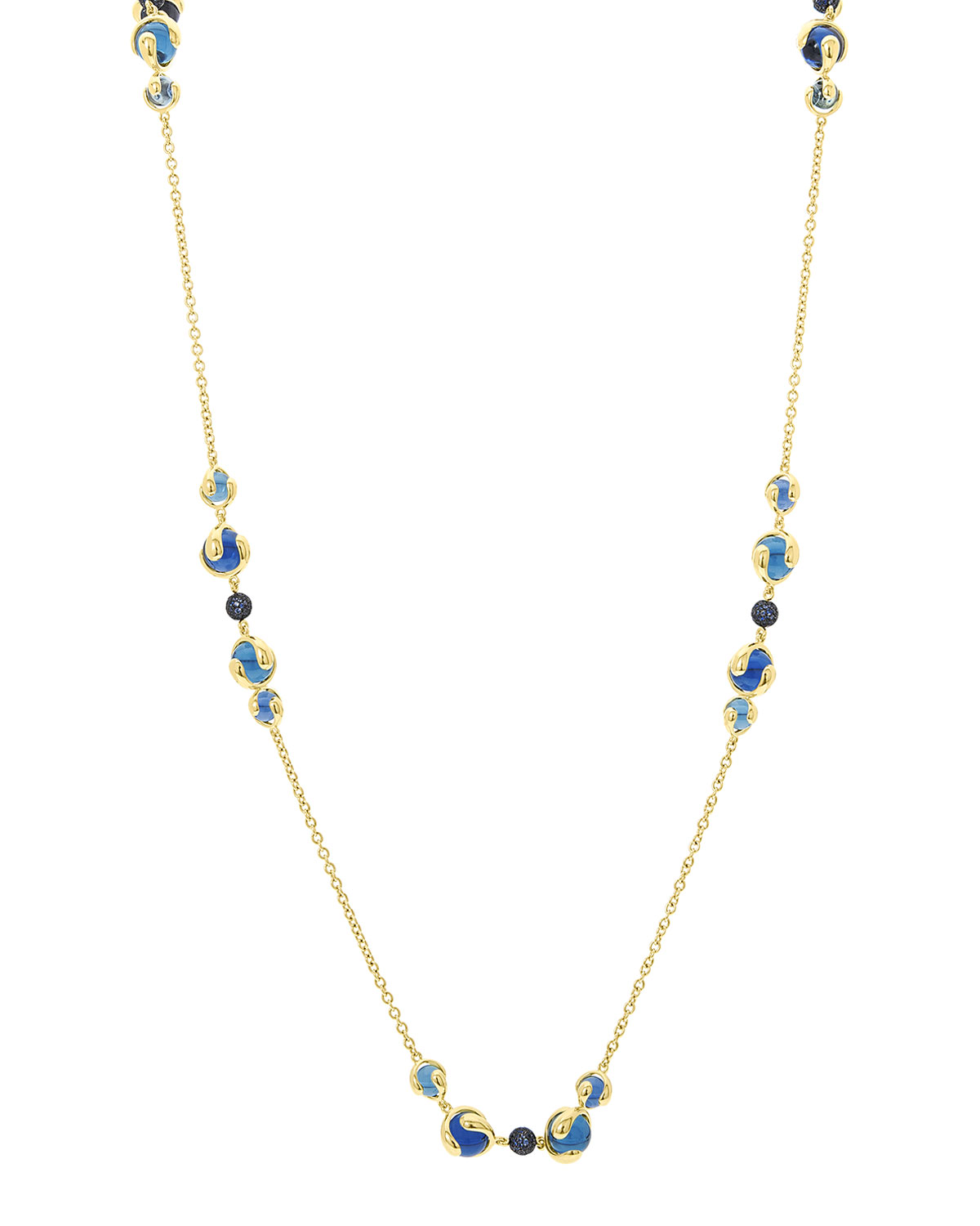 MARINA B 18K Gold Mixed-Stone Station Necklace