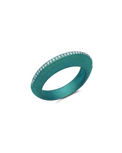 Titanium Diamond Ring in Teal  Size 7