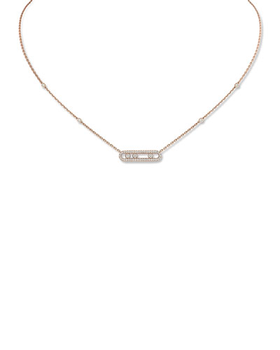 Baby Move 18k Pink Gold Diamond Pave Necklace