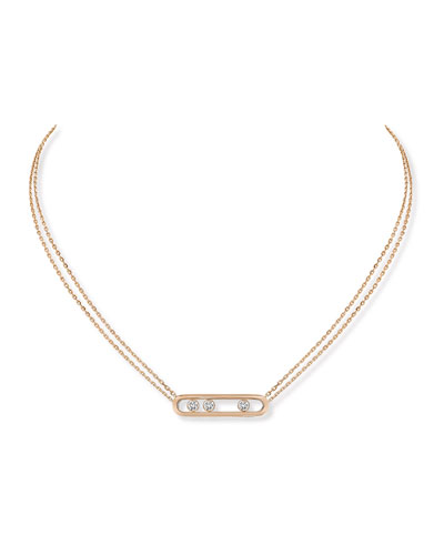 Move 18k Pink Gold 3-Diamond Necklace