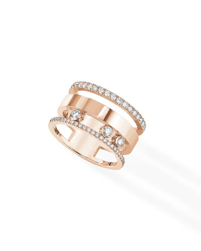 18k Rose Gold Move Romane Large Diamond Ring  Size 6.75