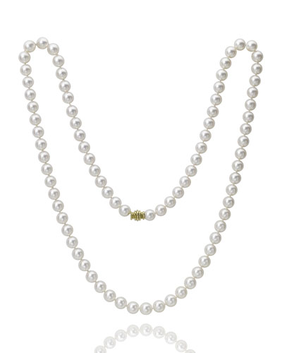 Long Akoya 8.5mm Pearl-Strand Necklace w/ 18k Gold  32L