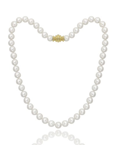 Short 7.5mm Akoya Pearl-Strand Necklace w/ 18k Gold  16L