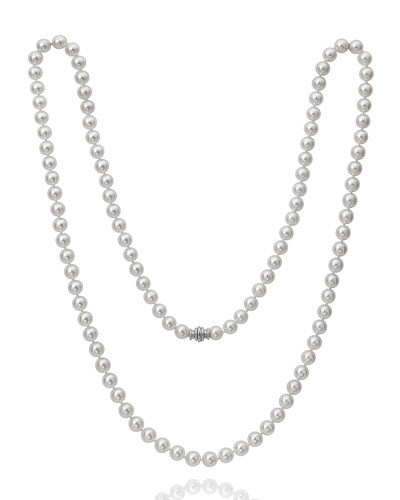 Long Akoya 8.5mm Pearl-Strand Necklace w/ 18k White Gold  36L