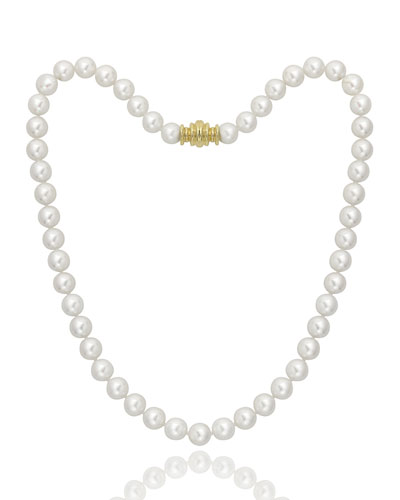 Short Akoya 8mm Pearl-Strand Necklace w/ 18k Gold  16L