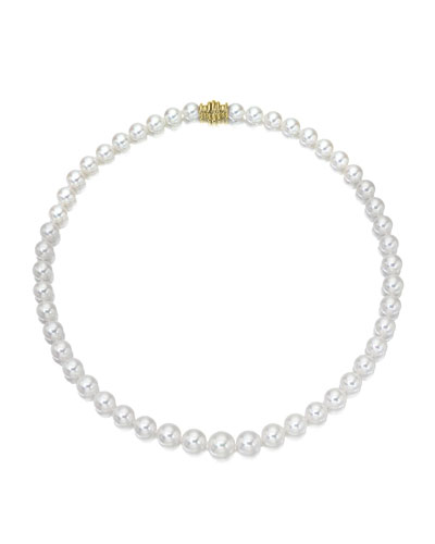 Short Akoya 6.5mm Pearl-Strand Necklace w/ 18k White Gold  16L