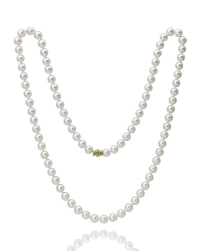 Long 8mm Akoya Pearl-Strand Necklace w/ 18k Gold  32L
