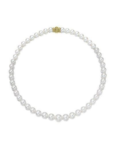 Short Akoya 6.5mm Pearl-Strand Necklace w/ 18k Gold  18L