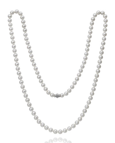 Long Akoya 7.5mm Pearl-Strand Necklace w/ 18k White Gold  36L