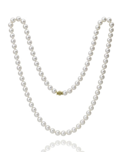Long 9mm Akoya Pearl-Strand Necklace w/ 18k Gold  32L