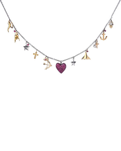 18k Ruby Heart & Charm Necklace