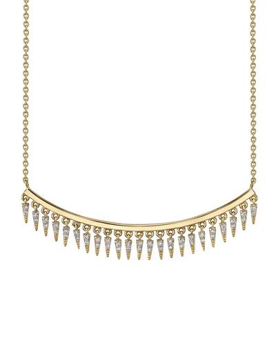 14k Gold Diamond Fringe Drop Bar Necklace