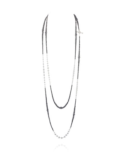 18k White Gold Extra-Long Mixed Diamond Necklace