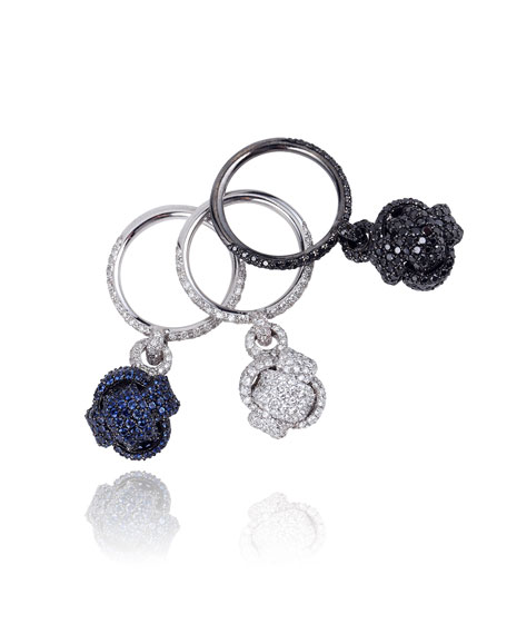 Mariani Nodi Stackable 18k White Gold Pave Knot Rings, Set of 3