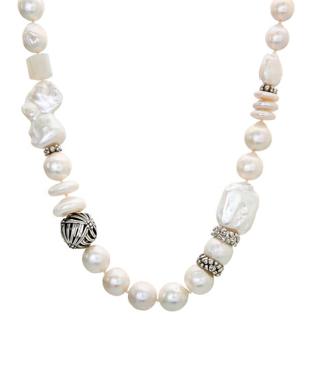 Stephen Dweck White Baroque Pearl Necklace