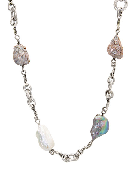 Stephen Dweck Carved Baroque Pearl & Link Necklace