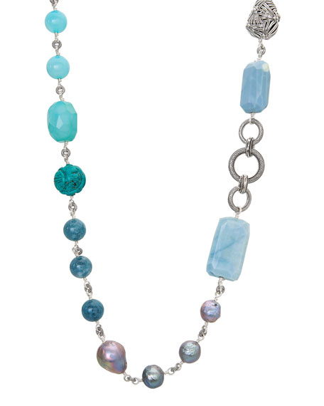 "Stephen Dweck Long Multi-Stone & Silver Pearl Necklace, 44""L"