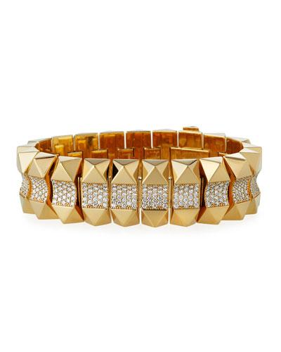 18k Gold Rock & Diamond Bracelet - Mid